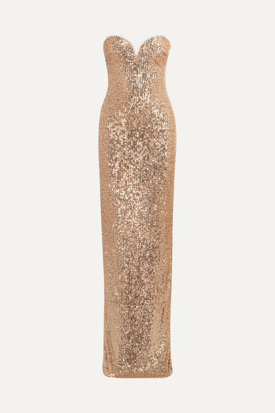 Strapless Sequin Embellished Tulle Gown by Naeem Khan