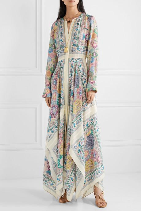 Tamourine asymmetric printed silk crepe de chine maxi dress