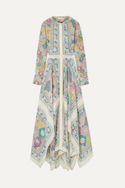 Altuzarra Tamourine asymmetric printed silk crepe de chine maxi dress