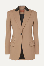 Altuzarra Leather-trimmed stretch-wool blazer