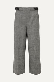 Altuzarra Charlie cropped leather-trimmed Prince of Wales-checked wool-blend wide-leg pants