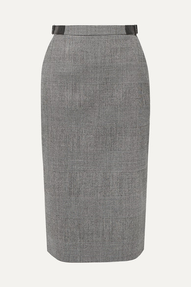 Bolan Leather Trimmed Prince Of Wales Checked Wool Blend Skirt by Altuzarra