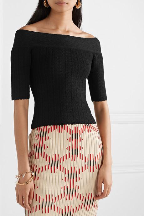 Barnehurst off-the-shoulder pointelle-knit top