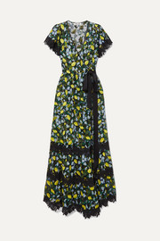 Diane von Furstenberg Victorious crocheted lace-trimmed embroidered tulle wrap dress