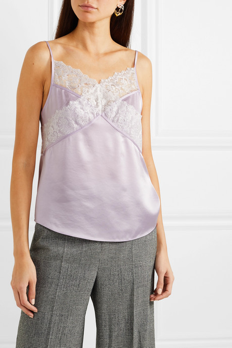 Nora lace-trimmed satin camisole