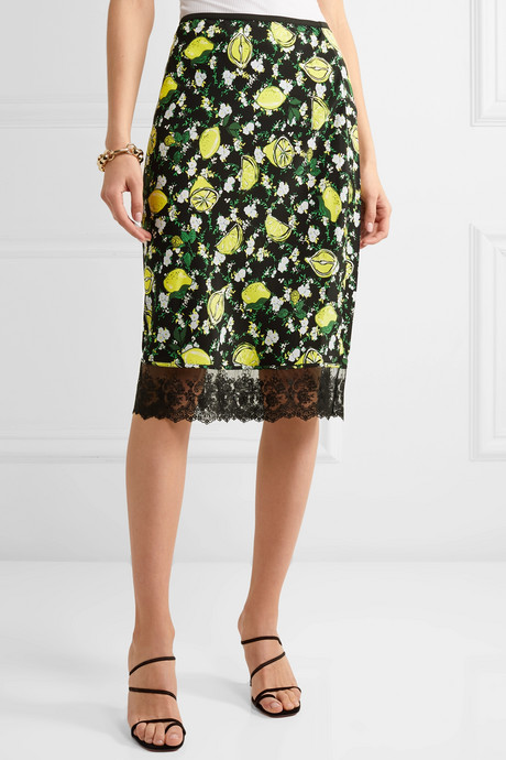 Chrissy lace-trimmed printed silk crepe de chine skirt