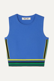 Diane von Furstenberg Kamari cropped striped stretch-jersey top