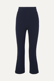 Cropped pleated crepe straight-leg pants