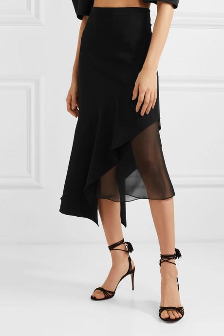 Asymmetric silk chiffon-trimmed stretch-crepe midi skirt