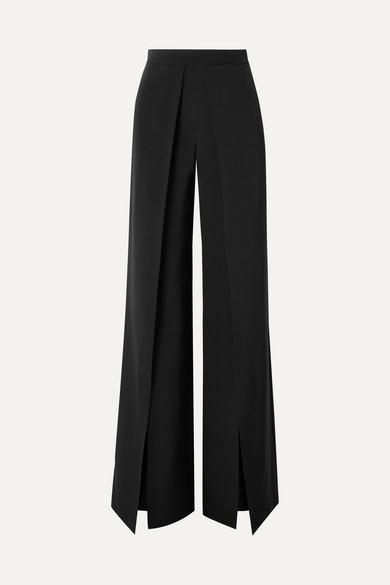 Cushnie Pleated Silk-Crepe Wide-Leg Pants In Black