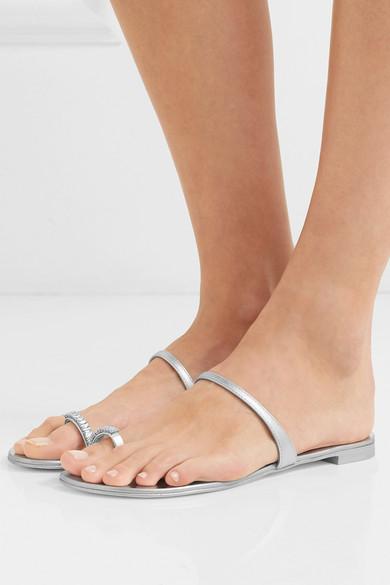 Giuseppe Zanotti Sandals Baguette crystal-embellished metallic leather sandals