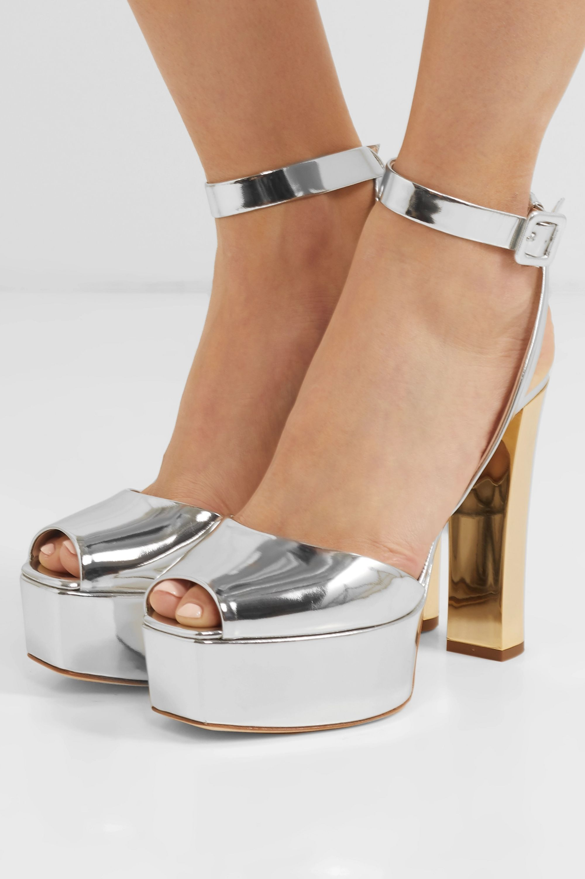 Silver Betty mirrored-leather platform