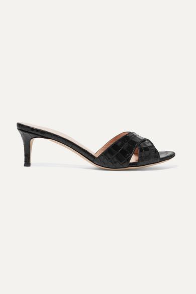 GIUSEPPE ZANOTTI | Giuseppe Zanotti - Felicia Croc-Effect Leather Mules - Black | Goxip
