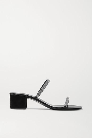 GIUSEPPE ZANOTTI | Giuseppe Zanotti - Crystal-Embellished Suede Mules - Black | Goxip