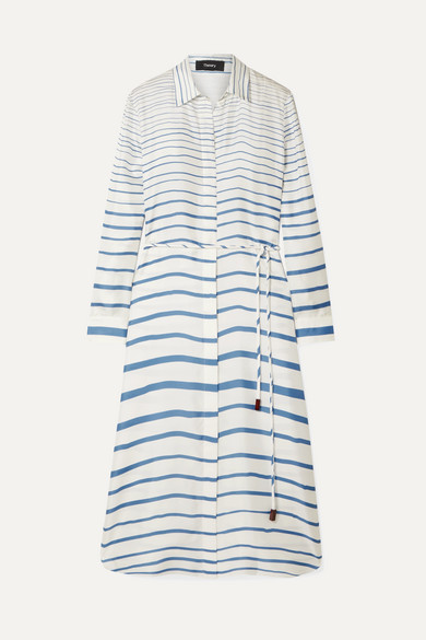 Theory Graduated Stripe Belted Long Sleeve Silk Shirtdress In Blue