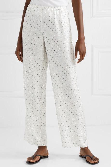 Printed silk-satin twill wide-leg pants