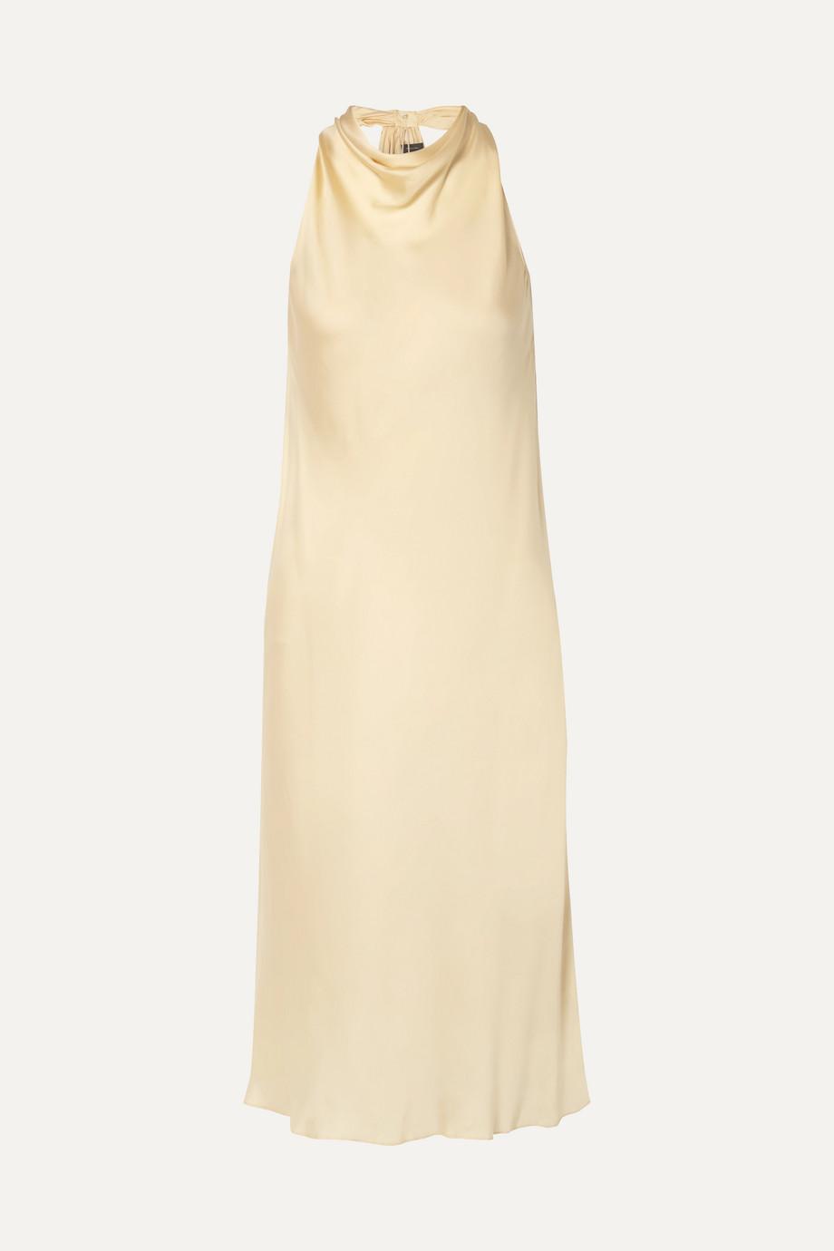 Theory Twist-back silk-charmeuse midi dress