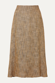 Herringbone tweed midi skirt