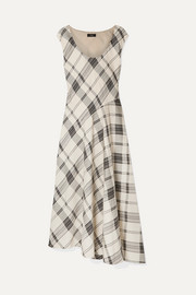Theory Tango asymmetric checked jacquard maxi dress