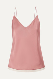 Cotton gauze-trimmed satin-twill camisole