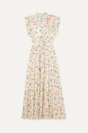 DÔEN Carnation ruffled floral-print Swiss-dot cotton-voile maxi dress