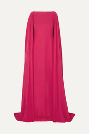 Cape-effect silk gown