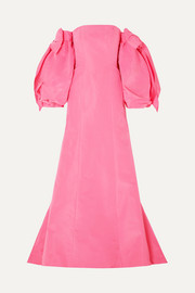 Carolina Herrera Convertible off-the-shoulder silk-twill gown