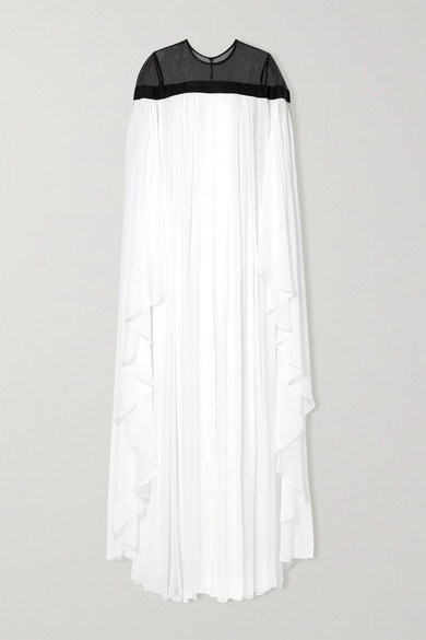 Carolina Herrera Ruffled Grosgrain-Trimmed Silk-Chiffon Gown In White