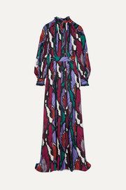 Belted printed crepe gown