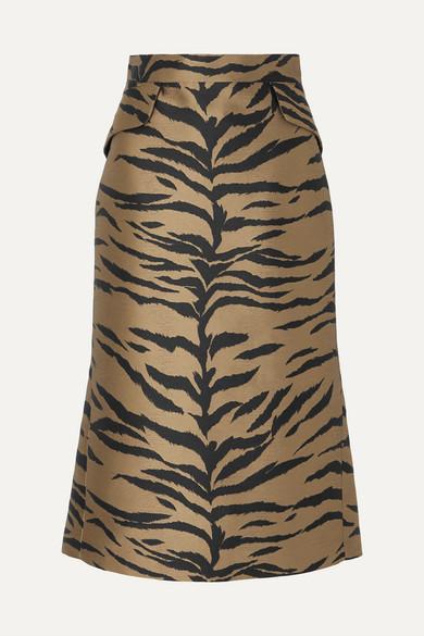 Tiger Jacquard Midi Skirt by Carolina Herrera