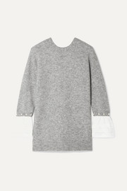 3.1 Phillip Lim Faux pearl-embellished satin-trimmed knitted sweater