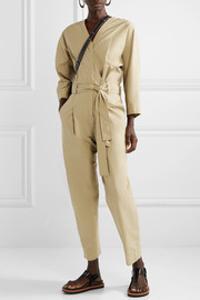 Belted cotton-blend poplin jumpsuit