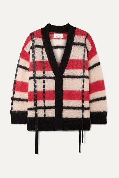 Oversized Satin Trimmed Striped Open Knit Cardigan by 3.1 Phillip Lim