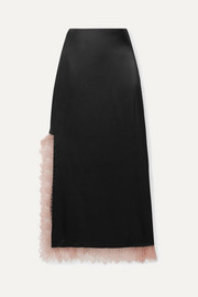 3.1 Phillip Lim Lace-trimmed satin midi skirt