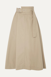 3.1 Phillip Lim Belted cotton-blend poplin midi skirt