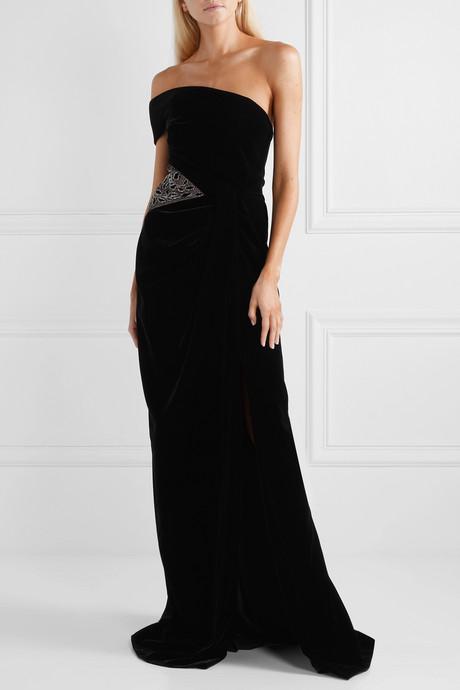 One-shoulder embellished tulle-paneled velvet gown