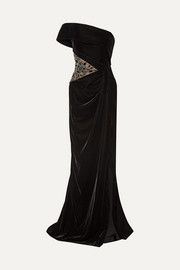 Marchesa One-shoulder embellished tulle-paneled velvet gown