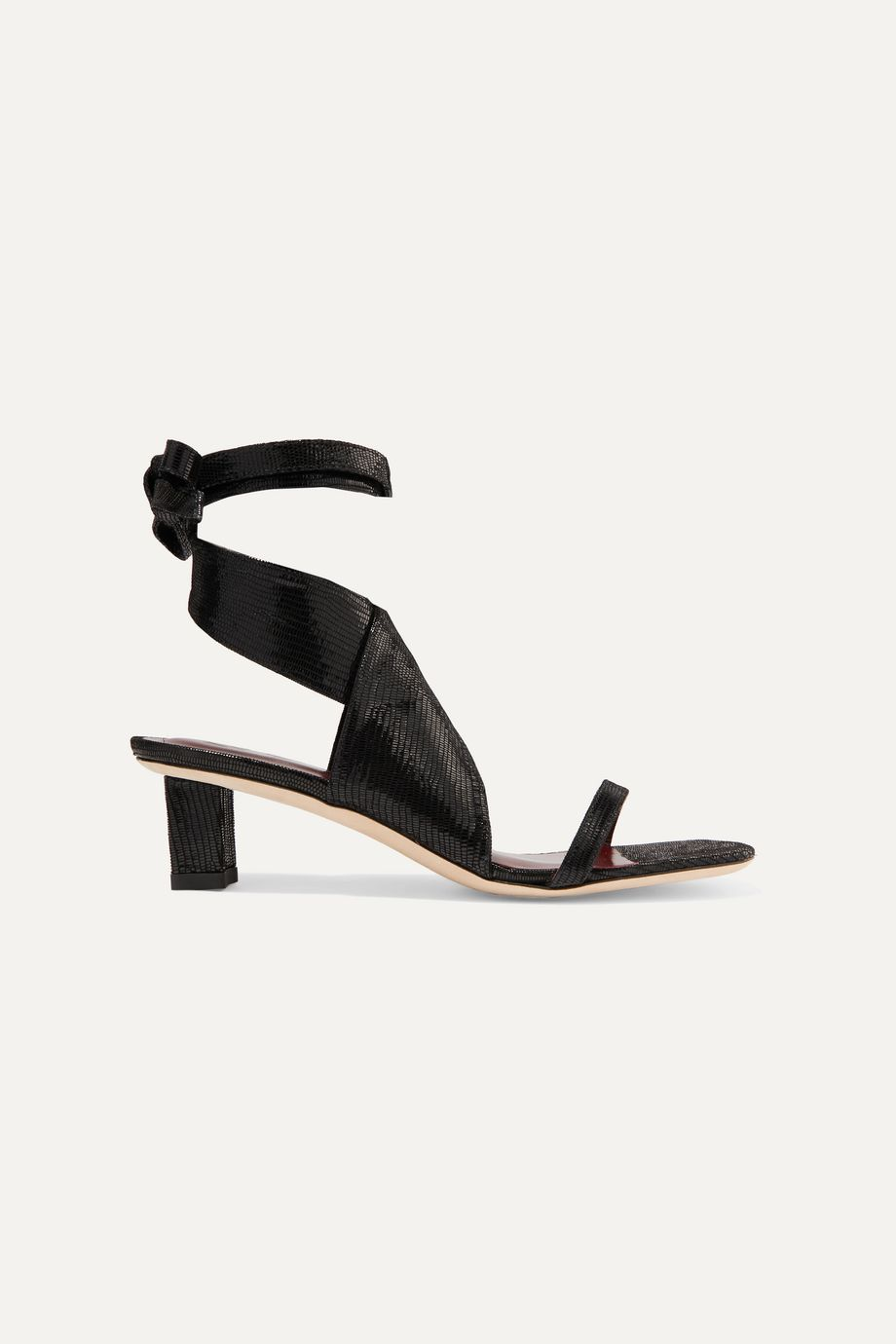 STAUD Rui lizard-effect leather sandals