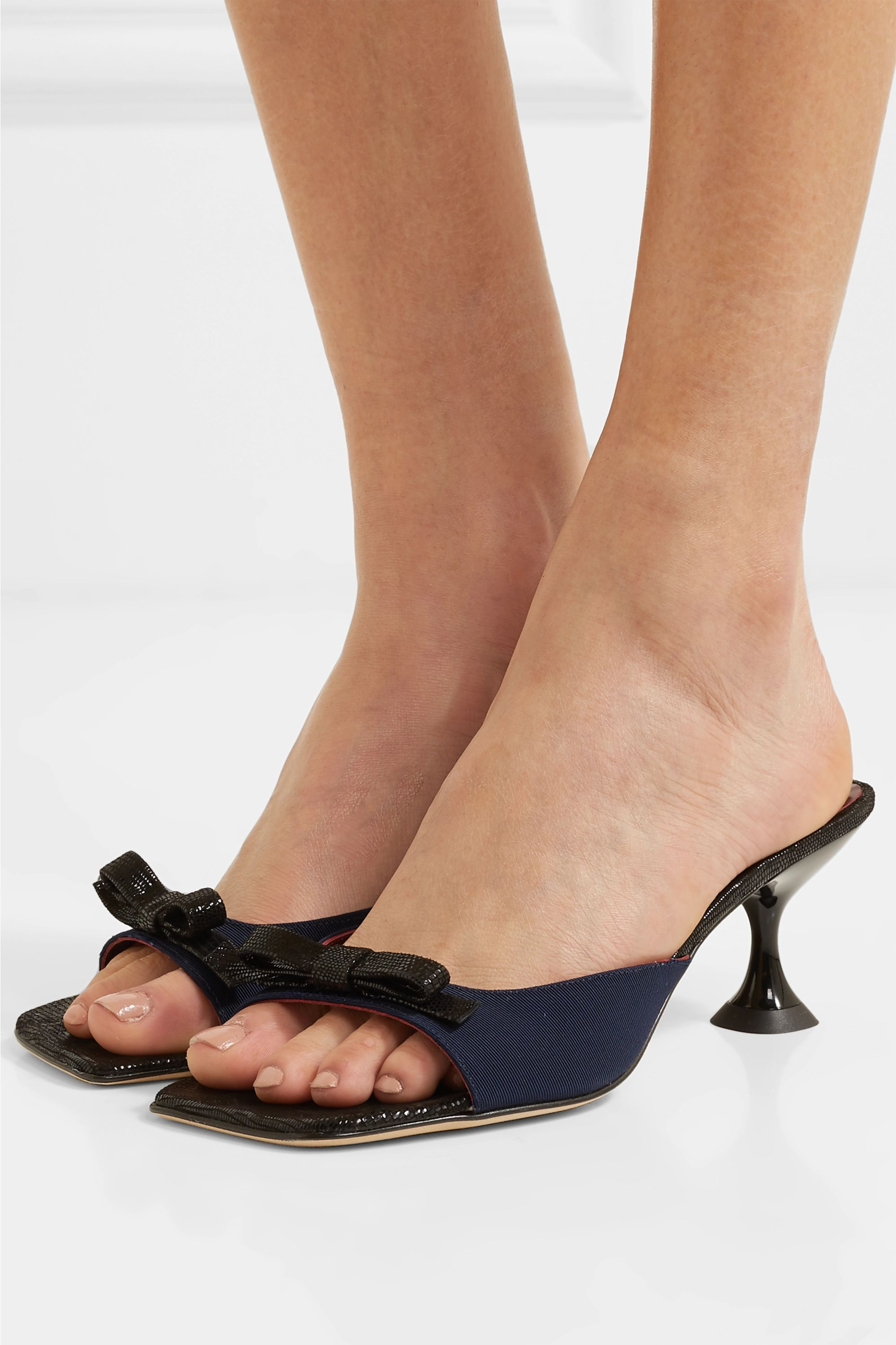 STAUD Leo bow-embellished faille and lizard-effect leather mules
