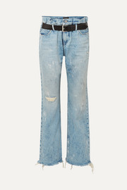 RtA Dexter belted distressed high-rise straight-leg jeans