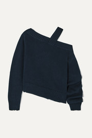 RtA Beckett asymmetric off-the-shoulder cotton sweater