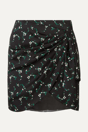 Caroline Constas Koren gathered floral-print silk-blend mini skirt