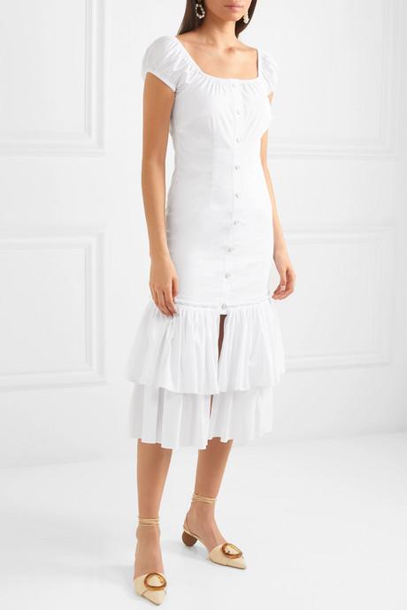 Lyla tiered cotton-blend midi dress