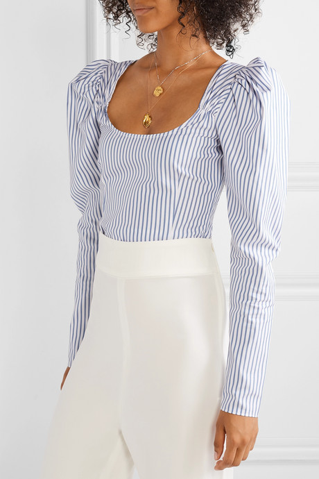 Ariana ruched striped cotton-poplin top