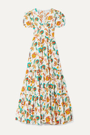 Tiered floral-print cotton-voile maxi dress