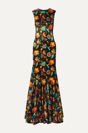 Allonia fluted floral-print silk-blend satin gown