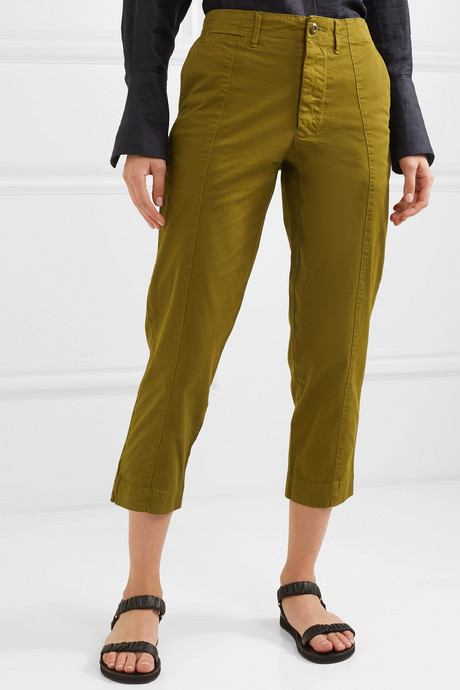 Cropped cotton-blend twill tapered pants