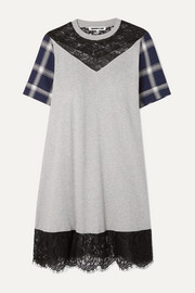 McQ Alexander McQueen Paneled cotton-jersey, checked flannel and lace mini dress