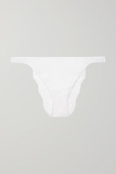 La Perla Tres Souple Stretch-leavers Lace And Tulle Briefs In White