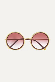 Dolce & Gabbana Round-frame acetate and gold-tone sunglasses